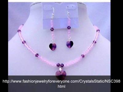 Amethyst Crystals Heart Pendant & Earrings Swarovski Beaded Jewelry by FashionJewelryForEveryone.Com