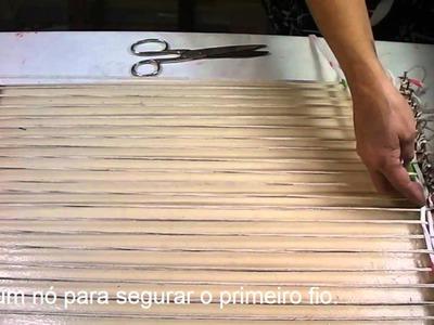 Artesanato: Tapete de tear de madeira - Craft: Mat wooden loom - Artesanía: Mat telar de madera