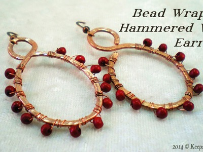 Bead Wrapped & Hammered Wire Earrings Tutorial
