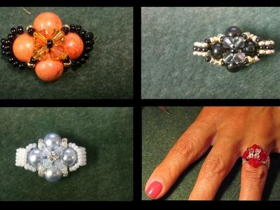 Beading4perfectionists : Very basic beginners ring with Swarovski beads beading tutorial