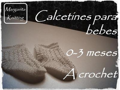Calcetines para bebes 0-3 meses a crochet (zurdo)