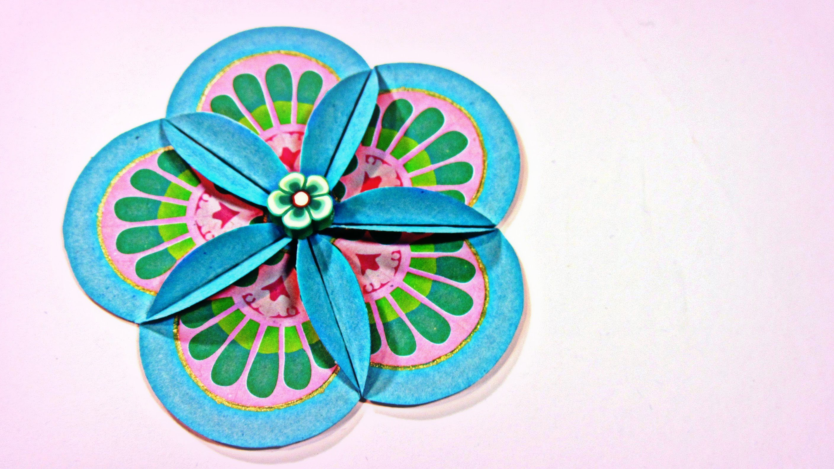 Cómo hacer flores scrapbooking. How to make scrapbooking flowers.
