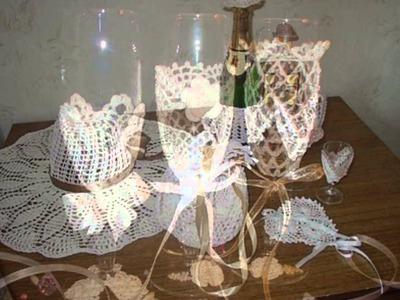 Copas decoradas a crochet para novios en una boda