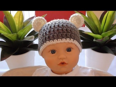 Crochet Baby Beanie with Ears - Crochet Bear Ears