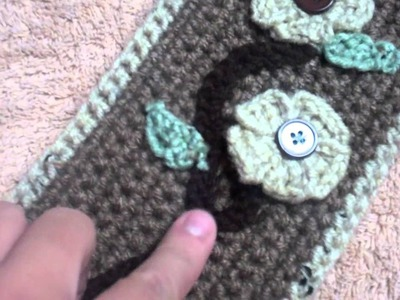 """Crochet Beanie and Scarf """"Baige with Cream White.'"""