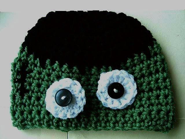 CROCHET FRANKENSTEIN HAT, crochet pattern, newborn to adult sizes