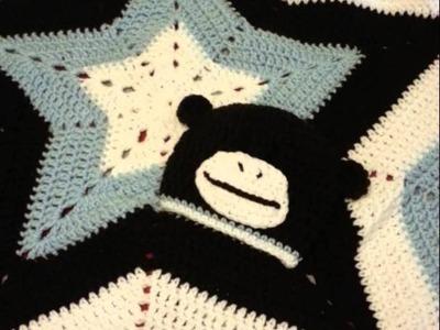 Crochet Star Baby Blanket with Baby Monkey Hat