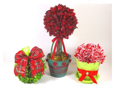 DIY Christmas Tree Ribbon Topiary and Ornament Decorations