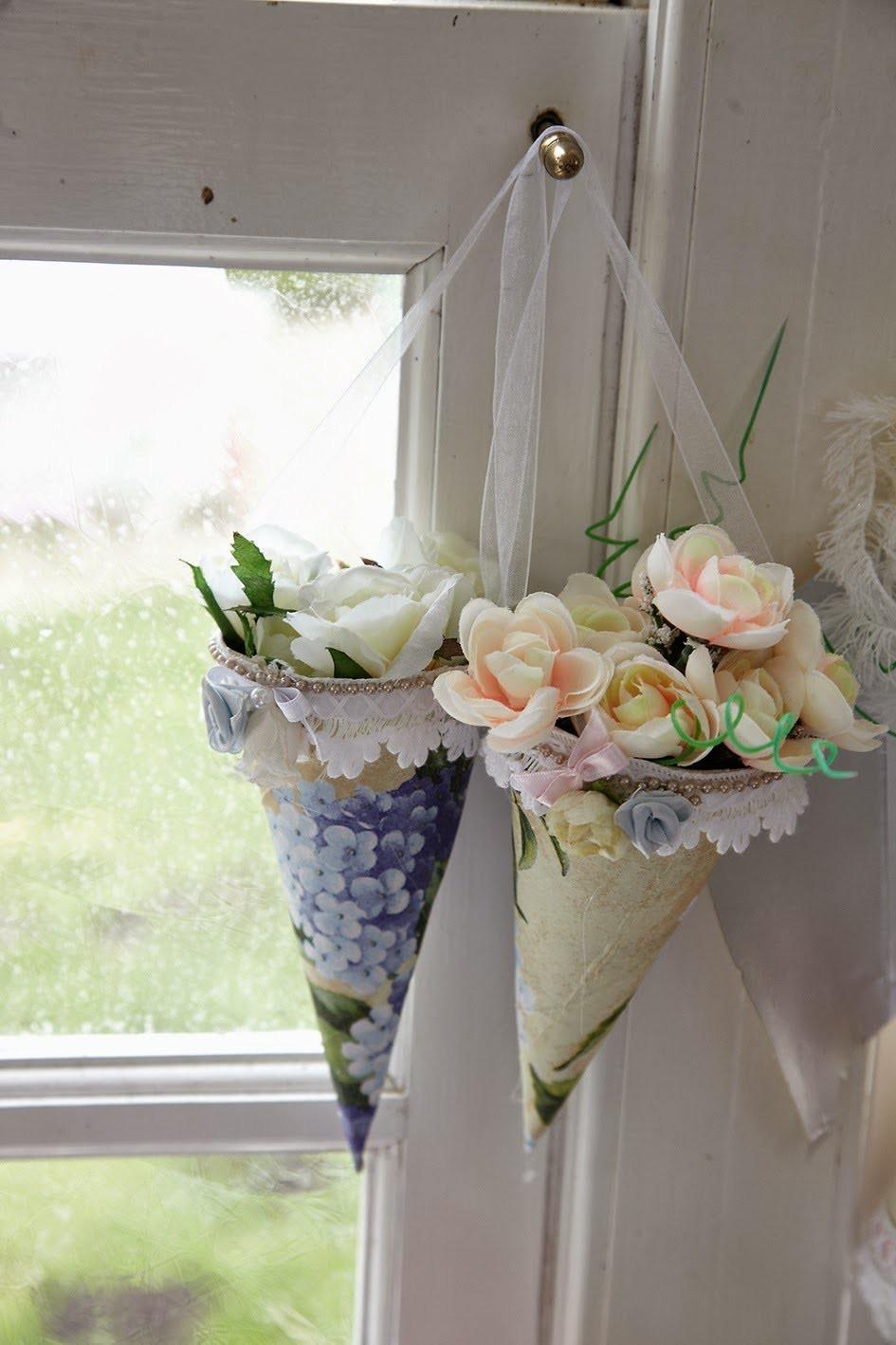 DIY: Cones de caixas de leite, decor happy Easter,  paper flower cone