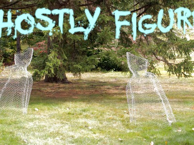 DIY Halloween Chicken Wire Ghost Figure Yard Decoration fast, easy, cheap 2014