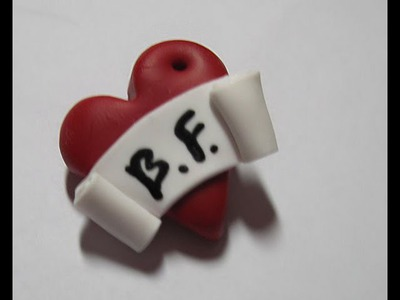 DIY Polymer clay: heart charm. ciondolo cuore con scritta!