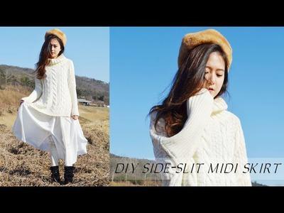 DIY Side-Slit Midi Skirt