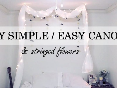 DIY Simple No Nail Canopy. Stringed Flowers Wall Deco