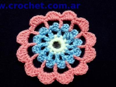 Flor N° 12 en tejido crochet tutorial paso a paso.