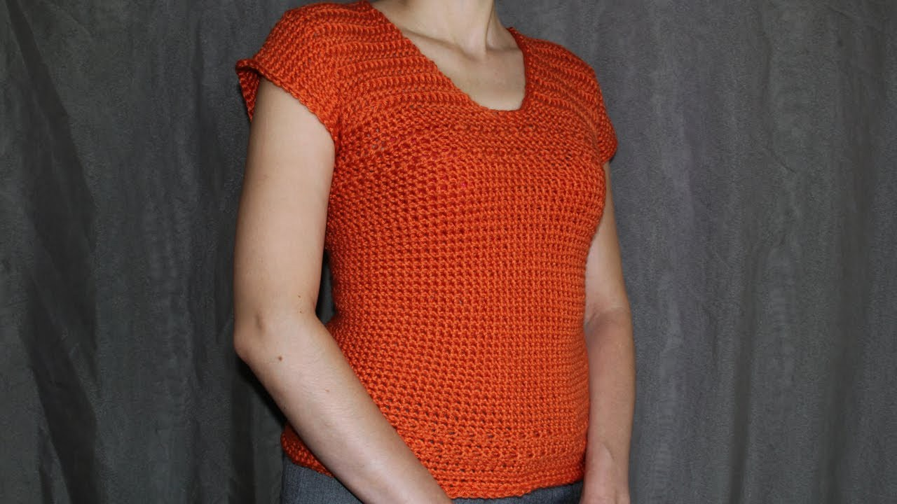 How to crochet short-sleeve women's sweater - video tutorial with detailed instructions