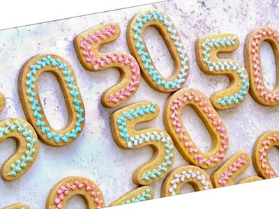 Number 50 (Piping bead border with royal icing mini tutorial)