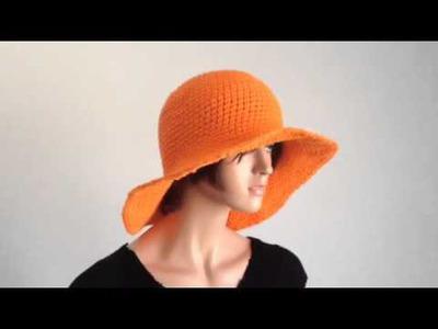 Summer Project 1: Crochet Wide Brimmed Orange Cotton Hat