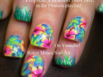 Tropical Flower Nail Art tutorial