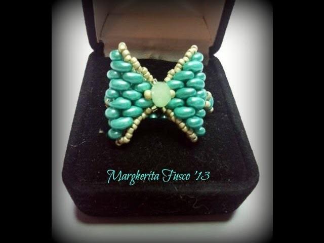 Tutorial anello fiocco con twin beads.superduo  come fare un anello con perline