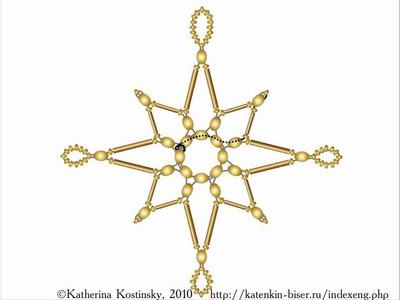 Weaving a Bead-and-Bugle Star. A Cartoon Tutorial