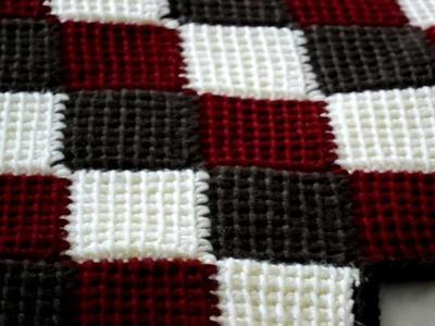Blanket I made using the entrelac.tunisian stitch