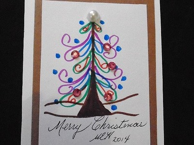 Contemporary christmas card, with colored markers, card making