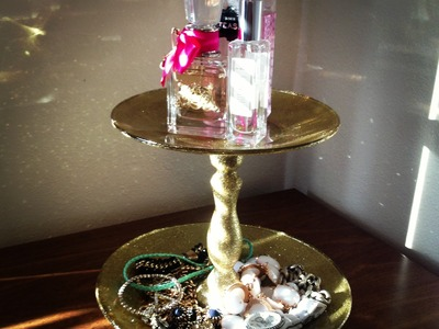 DIY | Glittered Cake Stand.Jewelry Tray Tutorial