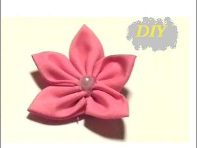 {DIY} Kanzashi Fabric Flower