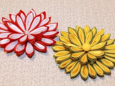 DIY Kanzashi Flower Tutorial.Kanzashi Flores de cinta