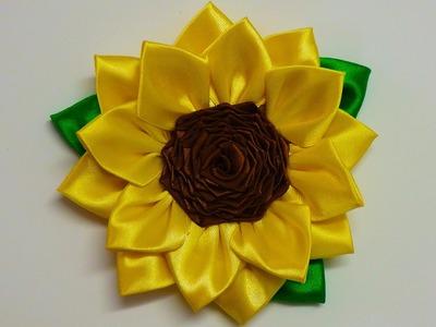 DIY Kanzashi sunflower, how to make kanzashi flower, diy flores de cinta