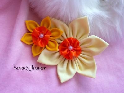 DIY: Make a kanzashi fabric flower hair clip