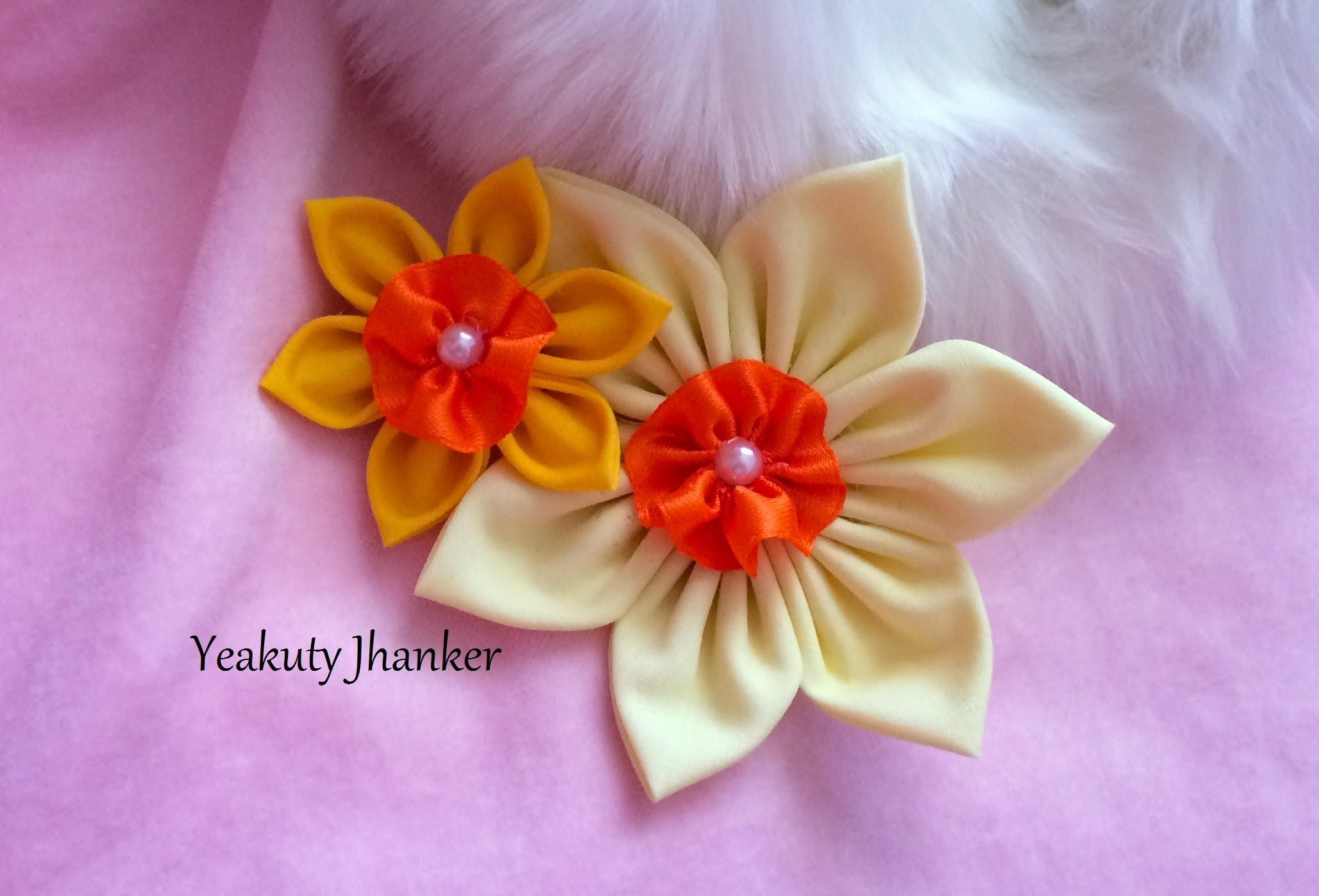 DIY: Make a kanzashi fabric flower hair clip