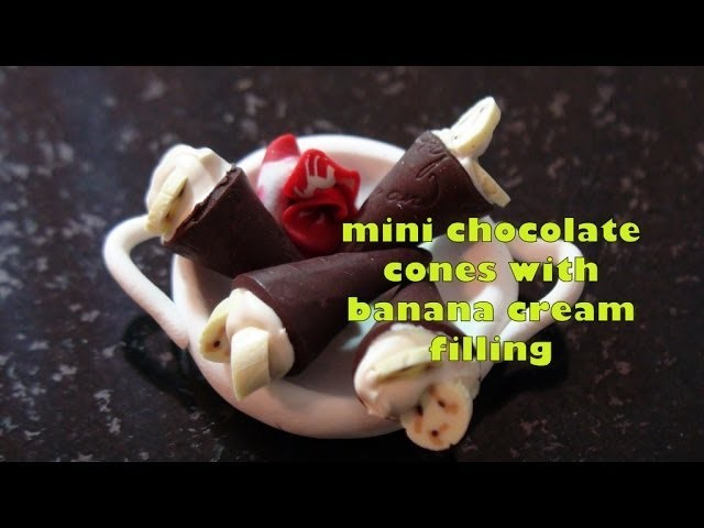 DIY: Mini Chocolate Cones With Banana Cream Filling in Polymer Clay