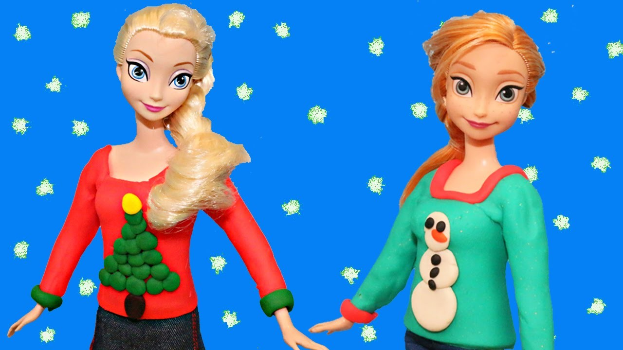 Frozen Play Doh Elsa, Anna & Barbie Doll Ugly Christmas Sweaters Playdough Makeover Dress-Up