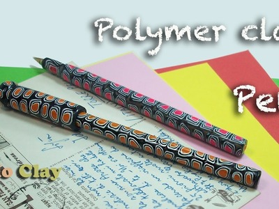 How to make easy Polymer Clay pen - Penna decorata con Murrine