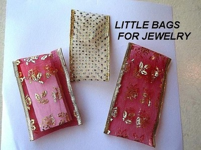 How to Make Quick, Easy Jewelry bags from wire edged ribbon - SEWING OR GLUING