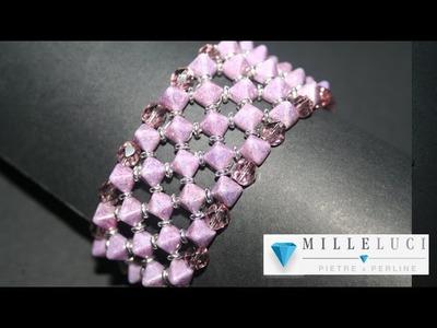 "Bracciale ""Cassiopea"" Pyramid Beads e Mezzi Cristalli e O Beads - Millelucistones.com"