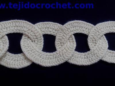 Bufanda con motivos circulares en tejido crochet tutorial paso a paso.