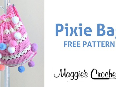 Crochet Pixie Back Pack with Pom Pom Party Yarn - Right Handed