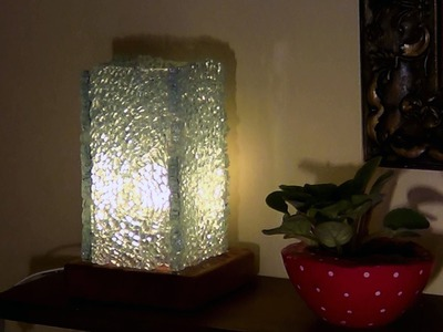 DIY - Abajur de cacos de vidro temperado - Lamp Toughened Glass shards - Lámpara de vidrio templado
