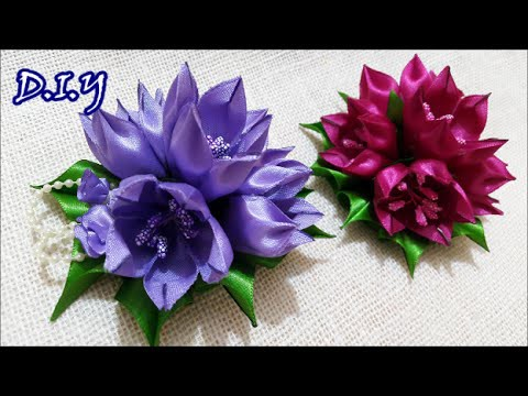 ✾ ❀ ❁ D.I.Y. Kanzashi Tulip Flower - Tutorial ❁ ❀ ✾