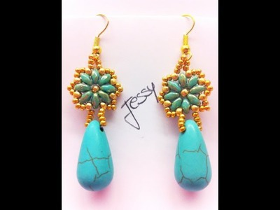 "DIY Tutorial ""Orecchini Gocce in Fiore"" - superduo. twin beads earrings"