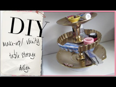 DIY Vanity Table Display Stand! I Home Decor idea for spinning make-up display!