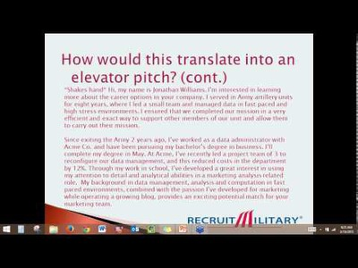 How to Craft an Effective Elevator Pitch as Military Veteran