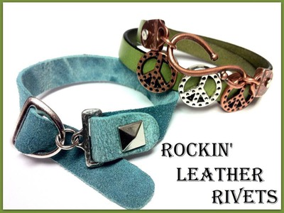 How to Make a Rockin Leather Rivets Bracelet out of Flat Regaliz Leather with The Bead Place