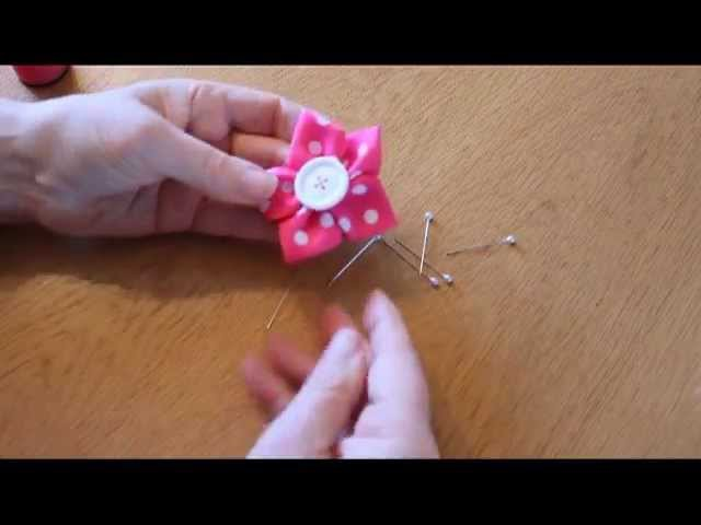 Kanzashi tutorial, Ribbon Flower Tutorial, Easy ribbon flower, diy ribbon flower