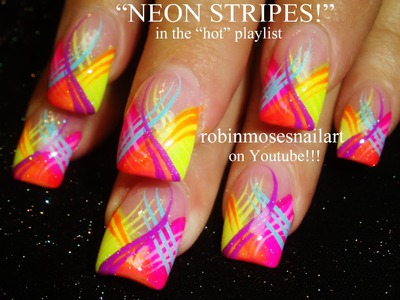 Nail Art Tutorial | DIY Neon Nail Stripes Design Tutorials!