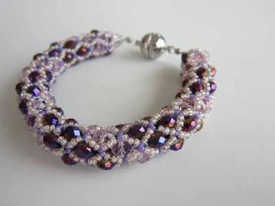 Netted Bracelet with 4x6mm oval beads