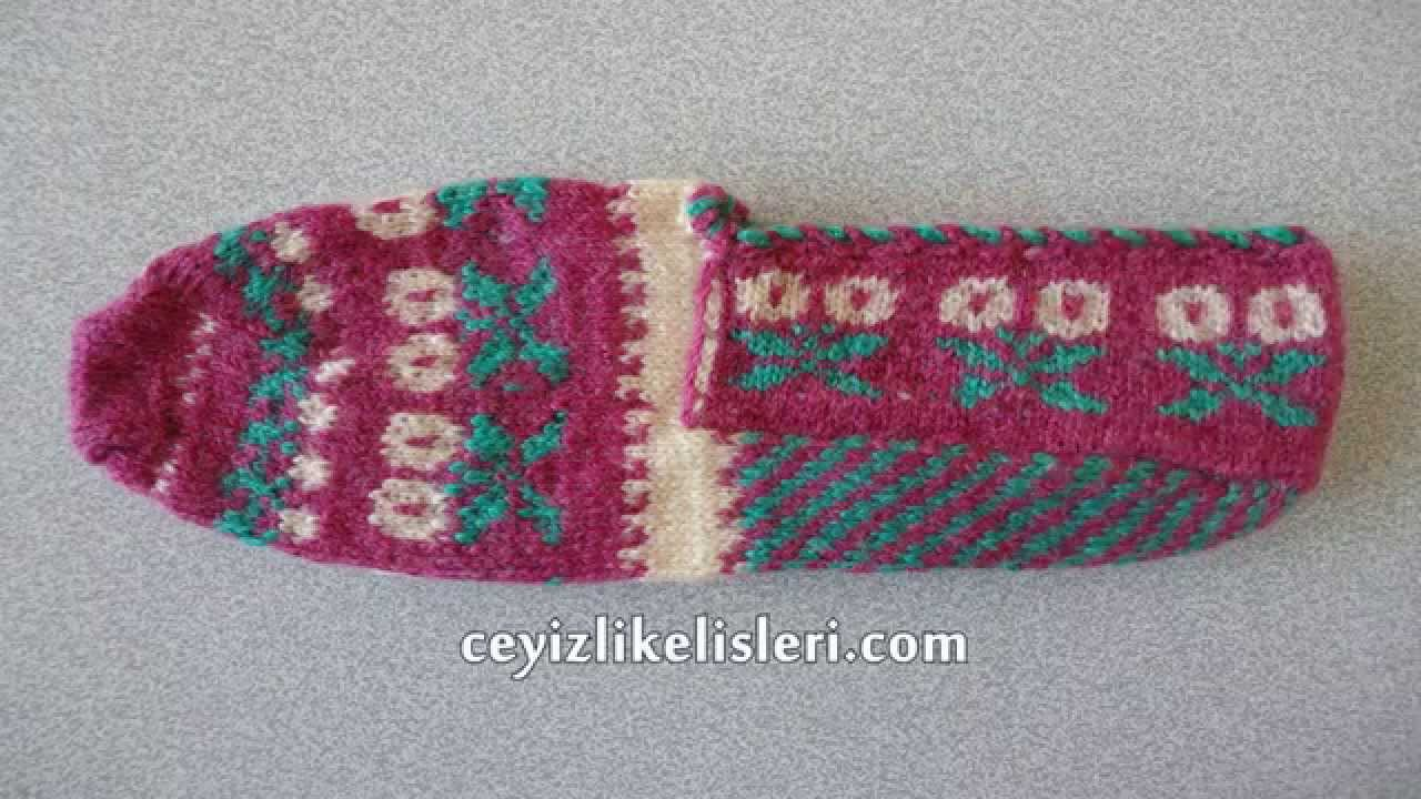 Pembe Renkli El Örgüsü Yün Patik Örneği : Hand Knitting Wool booties Example