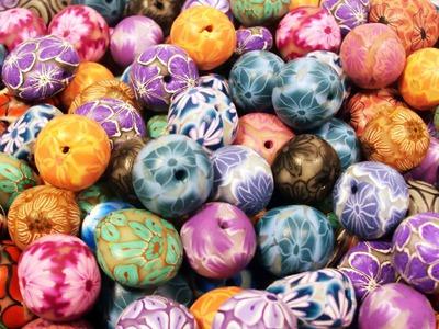 Perle, perle e perle millefiori cane (polymer clay beads)